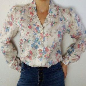 Vintage Floral Print Button Down Blouse